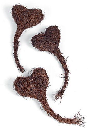 Reben-Herz m. Schweif, 7,5 cm, 2 Stck