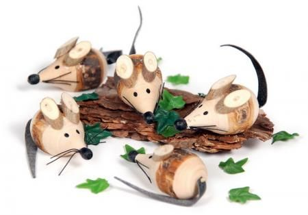Holz-Maus, 4,5 cm, 10 Stck