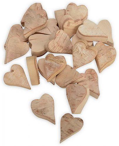 Birken-Herzen, spitz, natur, 24 Stück