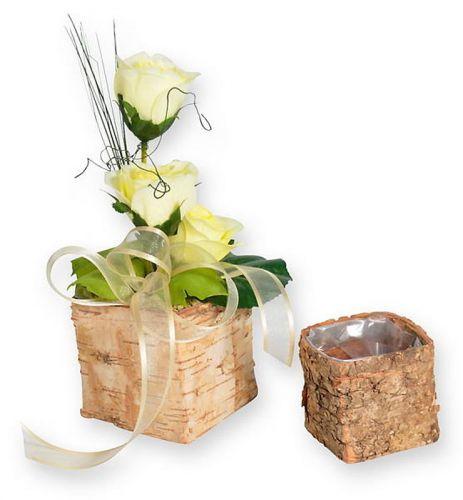 Birken-Wuerfel , 9 cm, Blumengestecke