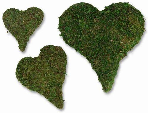 Moos-Herzen, 15 cm, 3 Stck