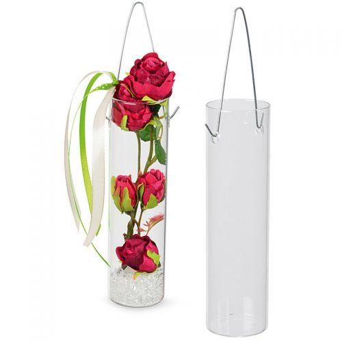 Rohr-Vase aus Glas zum Hängen, 18 cm