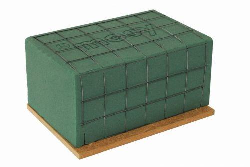 Steckschaum-Ziegel m. Drahtgitter, Griffkante + Holzboden, 17 cm