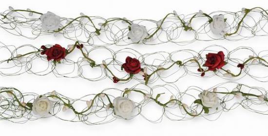Rosen-Beeren-Girlande, 100 cm, Tischdekoration