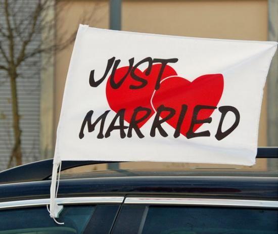 """Autofahne """"Just Married"""" - Herzen"""