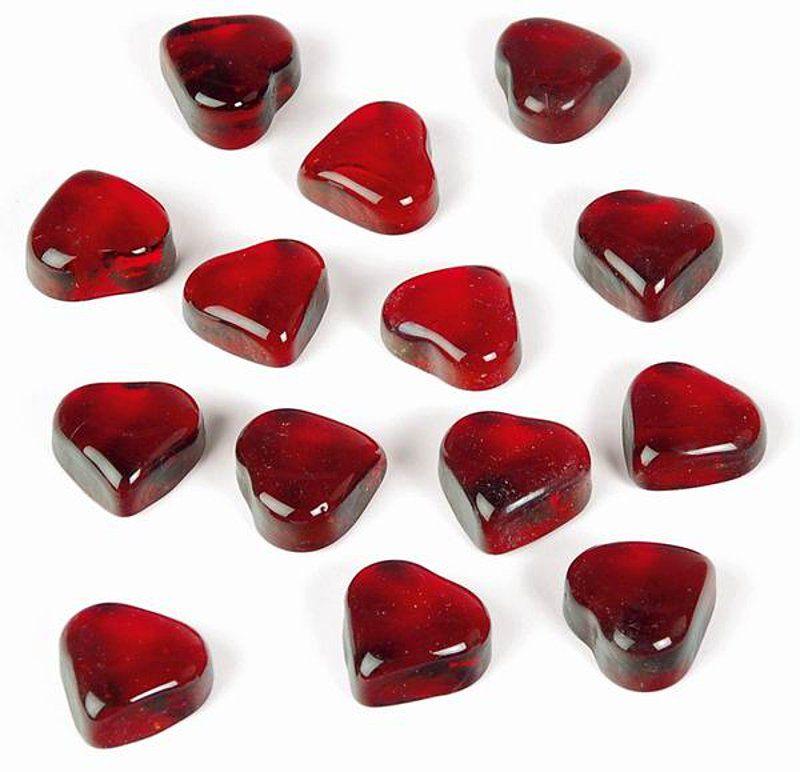 Glas-Herzen, rot, 20 Stck