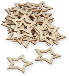 Stern aus Holz, natur, 30 Stck