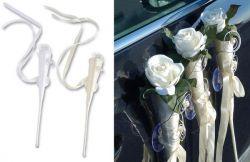 Autodeko Hochzeit - Satintüte, weiß