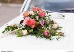 Autodeko Herz Hochzeit, 37 cm, offen, Saugnäpfe