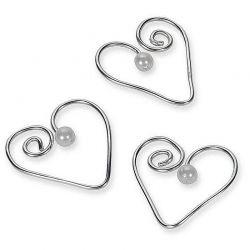 Herz au Draht mit Perle, 16 Stück