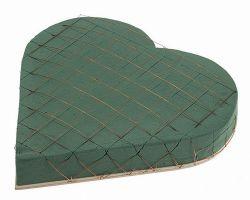Herz aus Steckschaum, 20 cm, Drahtgitter, Holzunterlage