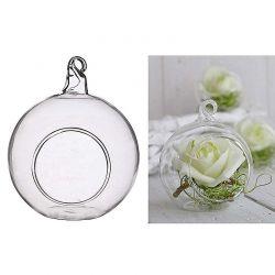 Kugel aus Glas mit Öffnung, 8 cm, 6 Stück