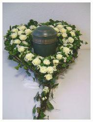 Steckschaum Urnen-Herz zum Stellen, 65 cm, mit Stellfläche